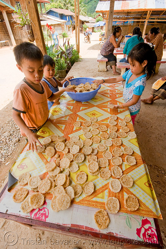 rice cookies - home made - kids - laos, boy, children, girl, people, rice cakes, street market, street vendor, table