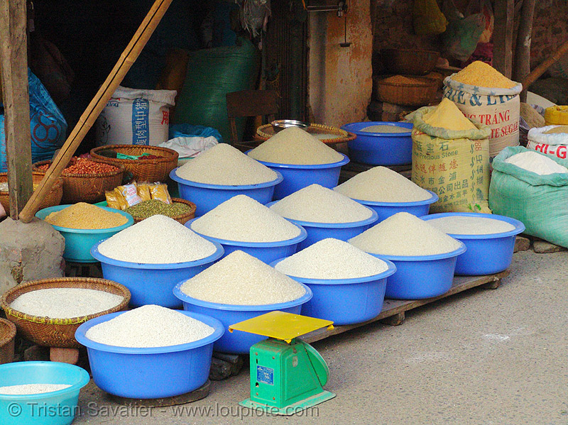 rice shop - vietnam, blue, bulk, grains, lang sơn, many, rice, street market