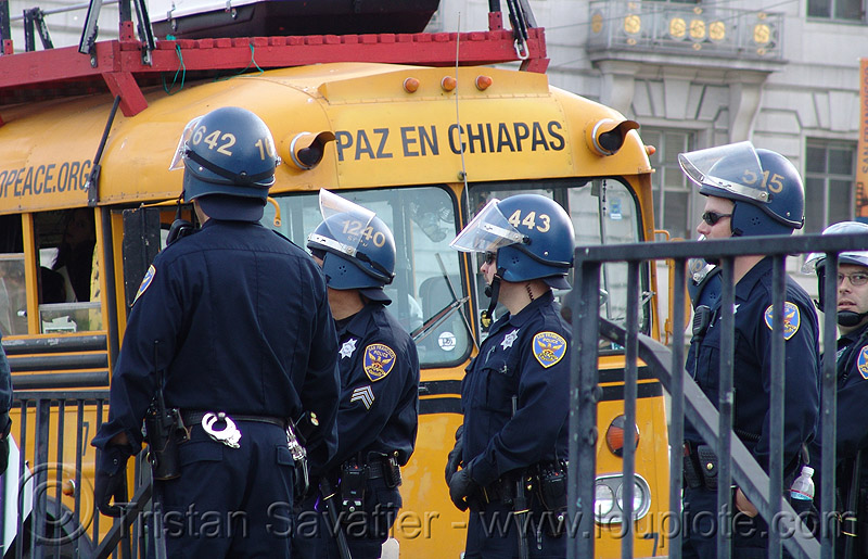 riot police - SFPD (san francisco), anti-war, anti-war protest, chiapas, cops, helmets, law enforcement, paz en chiapas, peace, peace protest, people, police officers, riot gear, uniform