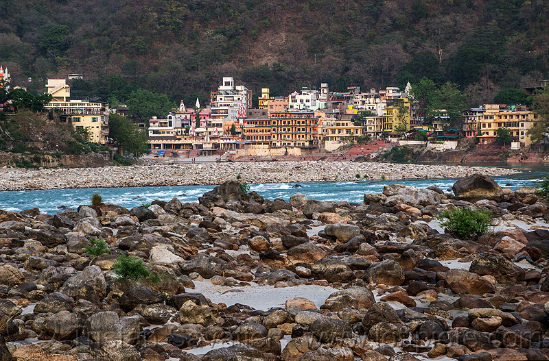 rishikesh and the ganges river (india), ashrams, buildings, ganga, ganges river, india, rishikesh, river bed, rocks