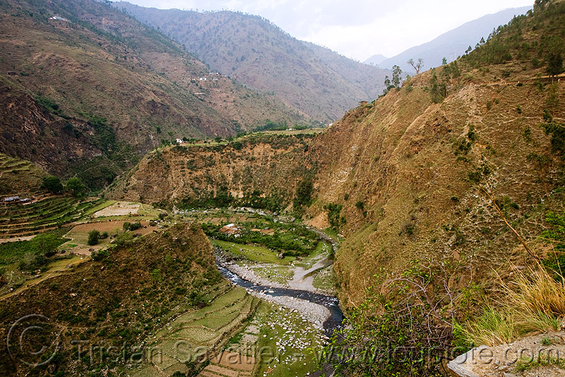 river in steep valley - road to ani - near jalori pass (india), ani, canyon, gorge, mountains, river, steep, valley