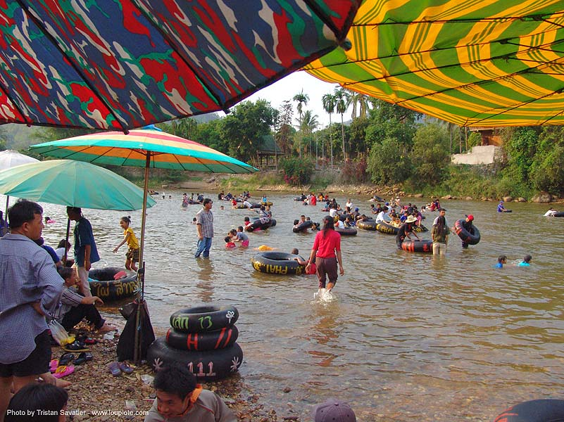 river tubing - thailand, crowd, fair, inner tubes, river bathing, river tubing, songkran, tha ton, thailand, umbrellas, wading, สงกรานต์