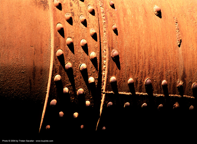 rivets on rotary furnace - new idria  (california), cinnabar smelter, close-up, mercury pollution, pipe, rivets, rotary furnace, rotary kiln, rusty, trespassing