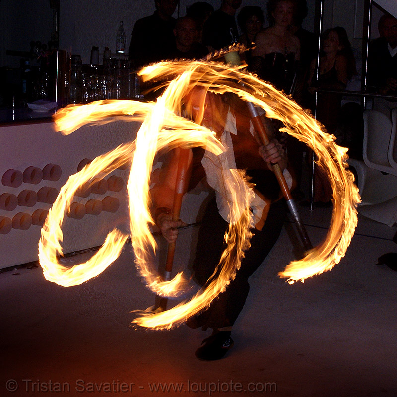 ro spinning fire staffs (san francisco), double staff, fire dancer, fire dancing, fire performer, fire spinning, fire staffs, fire staves, night, spinning fire