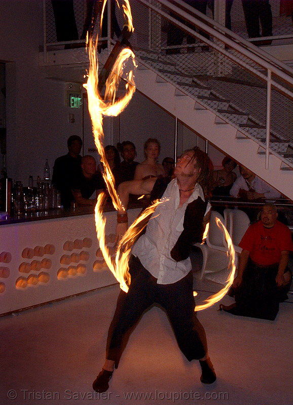 ro spinning fire staffs (san francisco) - fire dancer, double staff, fire dancing, fire performer, fire spinning, fire staves, flames, long exposure, night, people