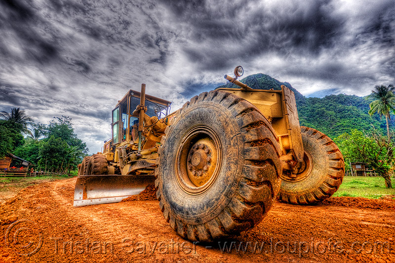road grader - caterpillar CAT 14G (140G), at work, cat 14g, cat grader, caterpillar 140g, caterpillar 14g road grader, caterpillar road grader, groundwork, laos, motor grader, mud tires, road construction, roadworks, working, yellow