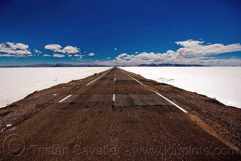 road to nowhere, blue sky, desert, halite, horizon, jujuy, noroeste argentino, perspective, rock salt, salar, salinas grandes, salt bed, salt flats, salt lake, straight road, vanishing point, white