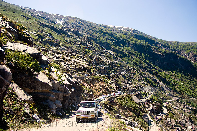 road to rohtang pass - manali to leh road (india), road, rohtang pass, rohtangla, traffic jam