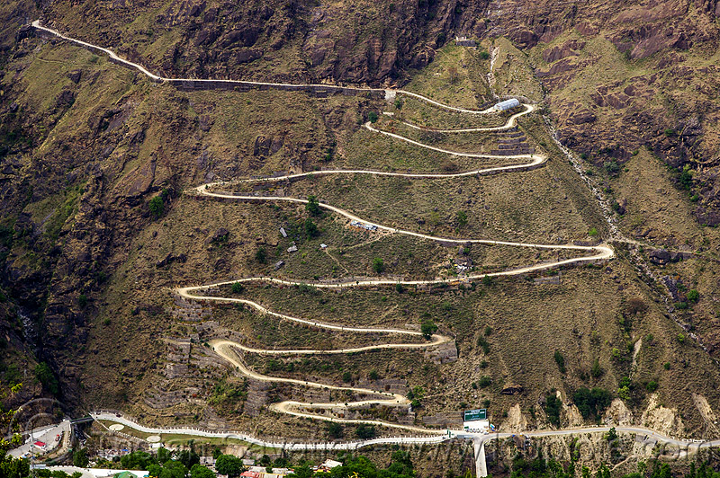 road with switchbacks (india), india, mountain road, mountains, switchbacks, vishnuprayag hydro project