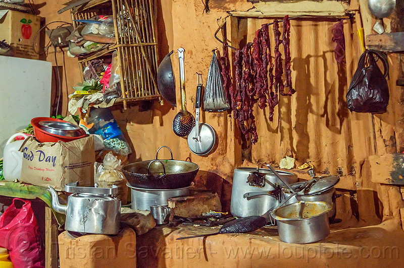 roadside restaurant kitchen (nepal), dried meat, hanging, kitchen, pans, pots, restaurant
