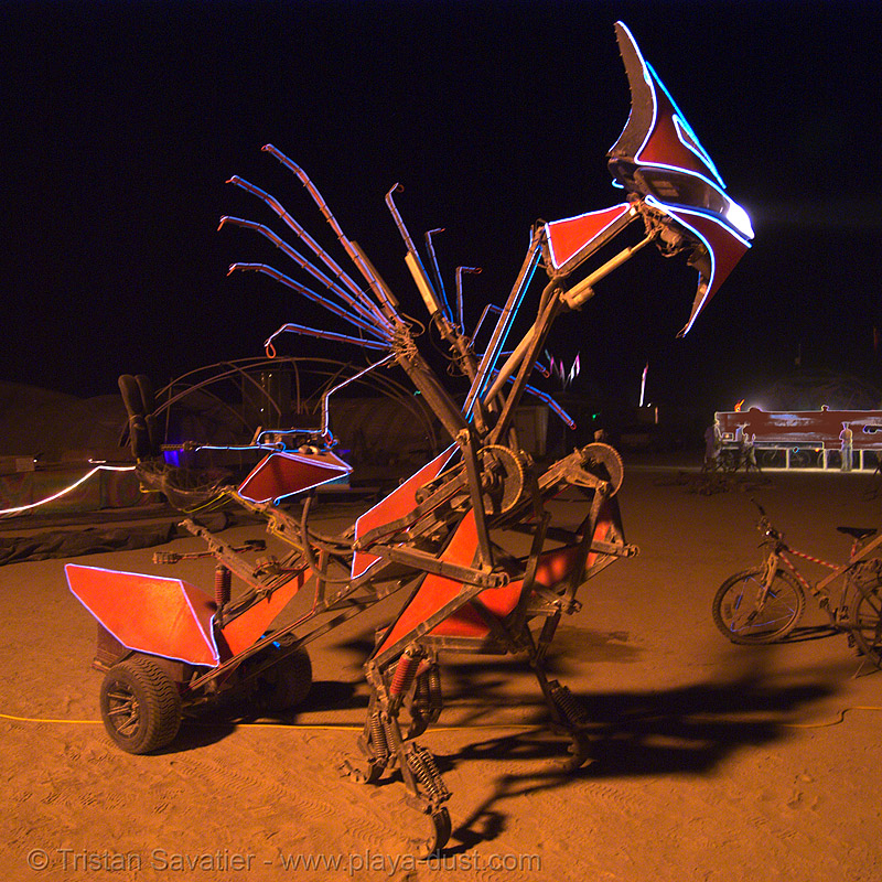 the robotic chariot aka the mantis - burning man 2007, 58, art car, burning man, denis, mutant vehicles, night, praying mantis, robotic chariot