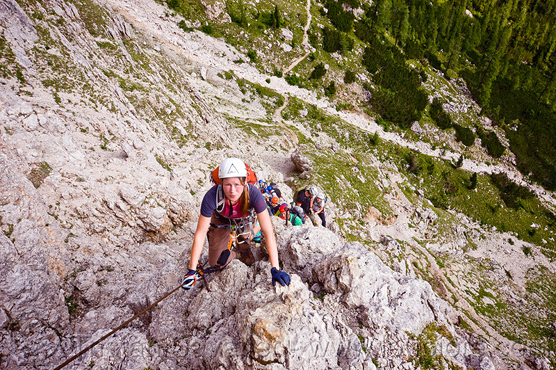 rock climbing in the dolomites - via ferrata, alps, cliff, climber, climbing harness, climbing helmet, dolomiti, ferrata tridentina, mountain climbing, mountaineer, mountaineering, mountains, people, vertical, via ferrata brigata tridentina, woman