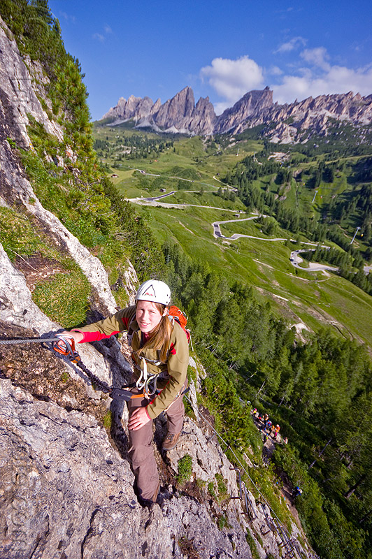 rock climbing in the dolomites - via ferrata tridentina, alps, cliff, climber, climbing harness, climbing helmet, dolomites, dolomiti, ferrata tridentina, mountain climbing, mountaineer, mountaineering, mountains, rock climbing, vertical, via ferrata brigata tridentina, woman