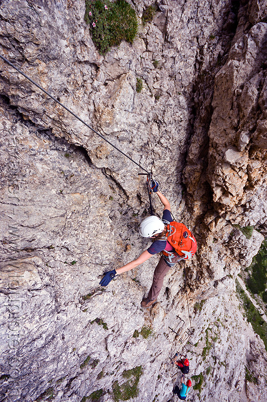 rock climbing - via ferrata (dolomites), alps, cliff, climber, climbing harness, climbing helmet, dolomites, dolomiti, ferrata tridentina, mountain climbing, mountaineer, mountaineering, mountains, rock climbing, vertical, via ferrata brigata tridentina, woman
