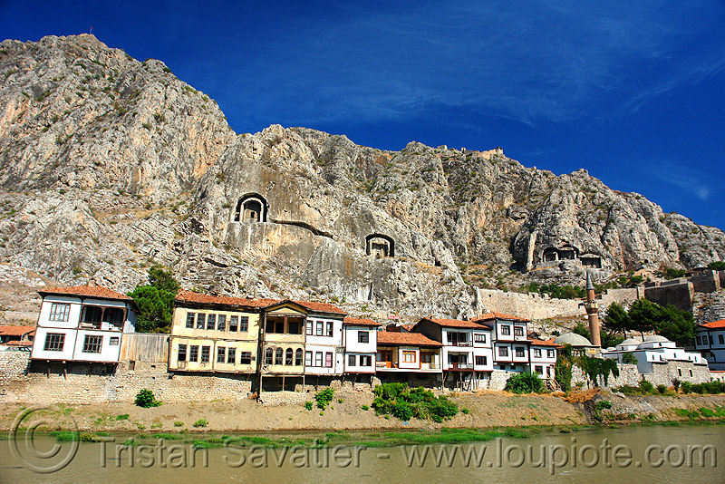 rock-cut tombs of the pontic kings (amasya), amaseia, archaeology, cliff, harşena, mountain, pontus, river, river front, rock cut, rock tombs, vertical