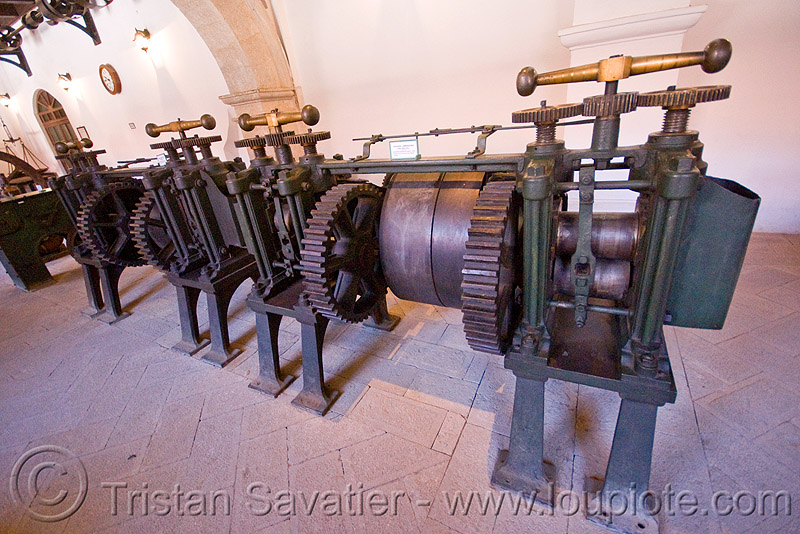 roller presses, casa de la moneda, casa nacional de moneda, machine tool, mint, minting, potosí, steam powered
