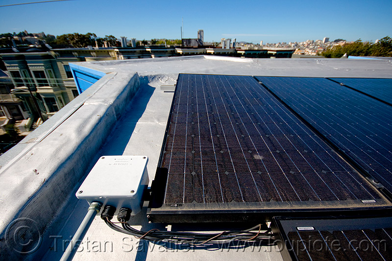rooftop solar panels - connector box and cables, electrical cables, electrical lines, electricity, photovoltaic, photovoltaic array, power, solar array, solar energy