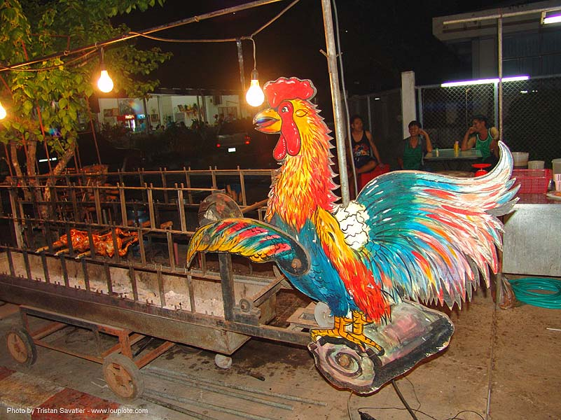 rooster shop sign - thailand, chicken, cockbird, painted, rooster, sign, ประเทศไทย