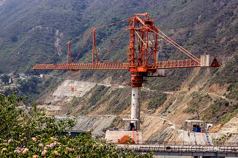 rotec tower-belt crane - shrinagar dam (india), alaknanda valley, construction crane, industrial, shrinagar dam