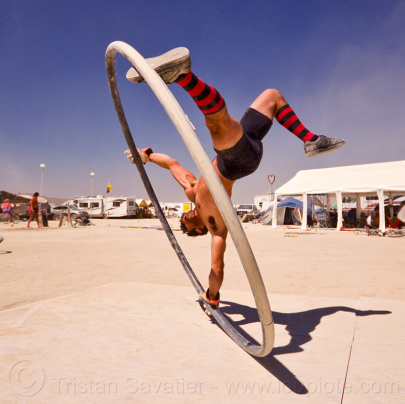 roue cyr - cyr wheel, burning man, corbin dunn, cyr wheel, roue cyr, upside-down