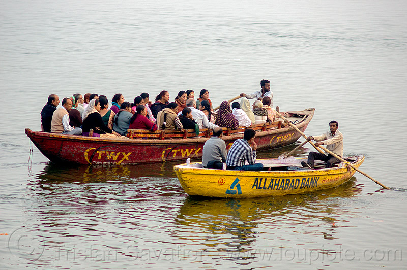 row boats sailing on ganges river (india), advertising, allahabad bank, ganga river, ganges river, painted, river boats, rowing boats, sailing, small boats, travel world experiences, two, twx, varanasi, water
