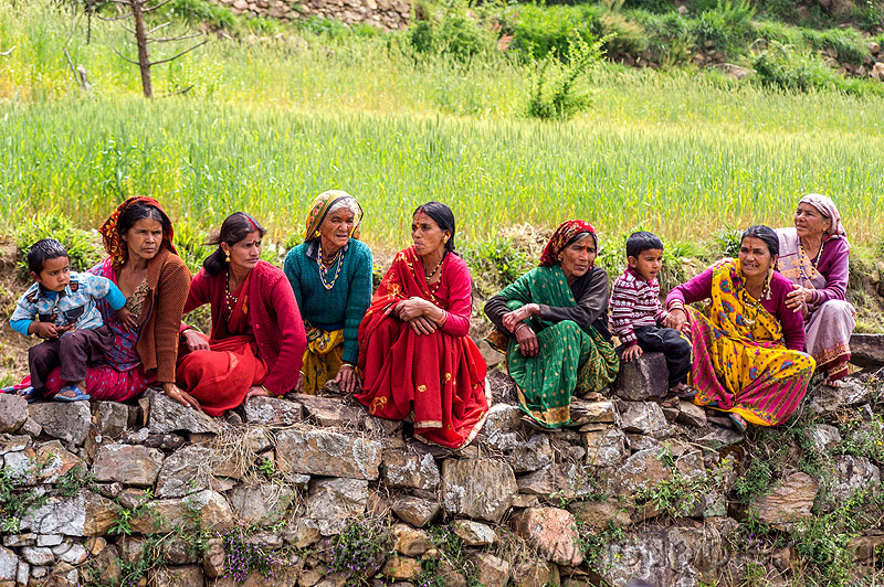 row of village women sitting on stone wall (india), childen, field, kids, row, sitting, tola gunth, villagers, wall, wedding, women