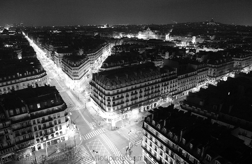 rue de rivoli (paris), aerial photo, cityscape, long exposure, night, paris, rue de rivoli, skyline, streets, tour saint-jacques, trespassing, urban exploration, urban explorer
