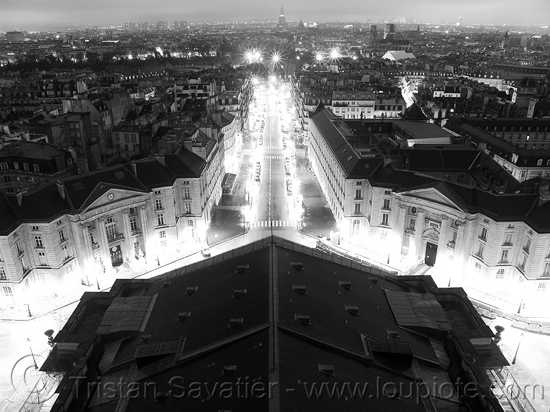 rue soufflot - view from pantheon roof at night (paris), aerial photo, city, cityscape, night, paris, rue soufflot