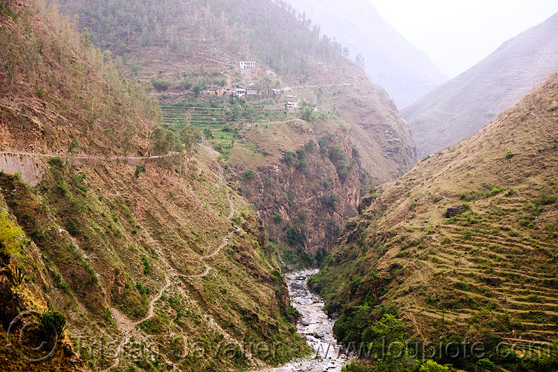rugged valley - road to ani - near jalori pass (india), ani, canyon, gorge, india, river, steep, v-shaped valley
