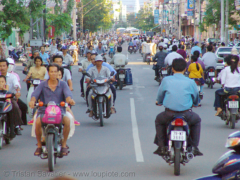 rush-hour traffic - motorcycles and scooters - street - nha trang - vietnam, motorbikes, people, rider, riding