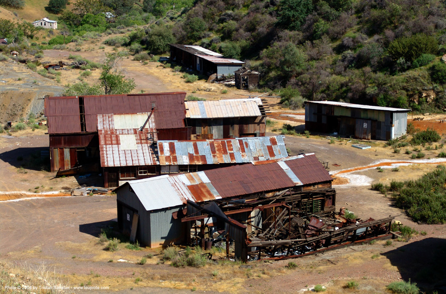 rusty buildings near abandoned mercury smelter - new idria, buildings, cinnabar smelter, ghost town, mercury pollution, rusty, trespassing