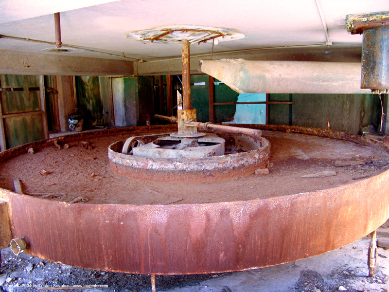 rusty circular pool in abandoned mercury smelter - new idria, cinnabar smelter, decay, industrial, mercury pollution, rust, rusted, trespassing, urban exploration