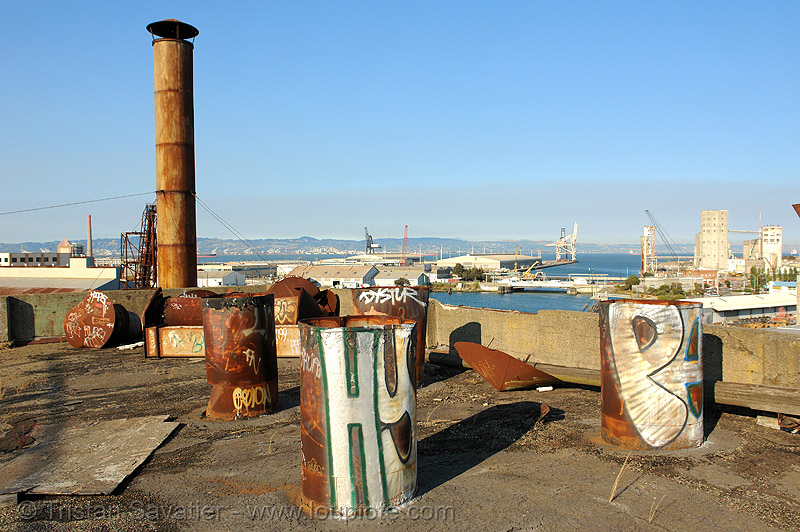 rusty smokestacks on roof, abandoned, abandoned factory, derelict, industrial, metal, rusted, tags, tie's warehouse, trespassing