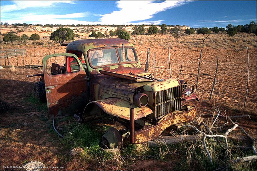 rusty truck - abandoned - junkyard, decay, desert, lorry, rusted, trespassing, urban exploration, wreck