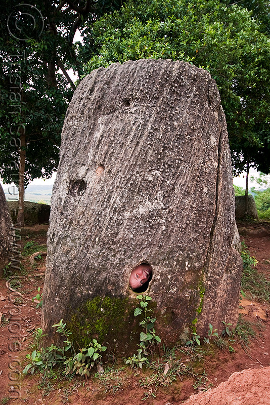 sabine in giant stone jars - plain of jars - site 2 - phonsavan (laos), archaeology, giant, hole, phonsavan, plain of jars, stone jar