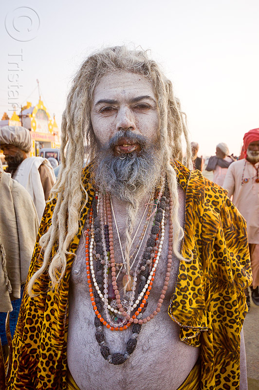 sadhu covered with vibhuti holy ash (india), baba, beads, beard, hindu holy man, hindu pilgrimage, hinduism, holy ash, india, maha kumbh mela, necklaces, pilgrim, sacred ash, sadhu, vibhuti, white ash, white dreadlocks