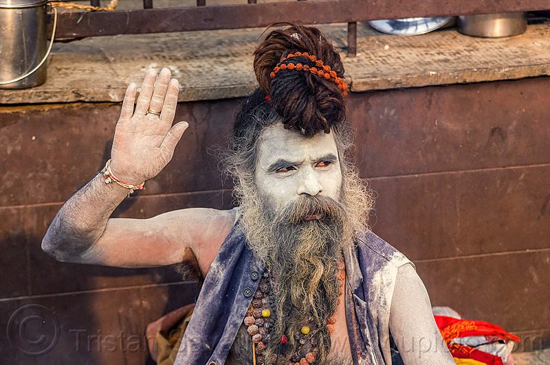 sadhu (hindu devotee) with face covered with vibhuti holy ash (nepal), baba, beard, dreadlocks, dreads, festival, hindu, hinduism, holy ash, kathmandu, knotted hair, maha shivaratri, man, necklaces, pashupati, pashupatinath, rudraksha beads, sacred ash, sadhu, vibhuti