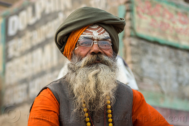 sadhu - hindu holy man (india), baba, bhagwa, headdress, hindu, hinduism, india, man, prescription glasses, sadhu, saffron color, spectables, tilak, turban, varanasi, white beard