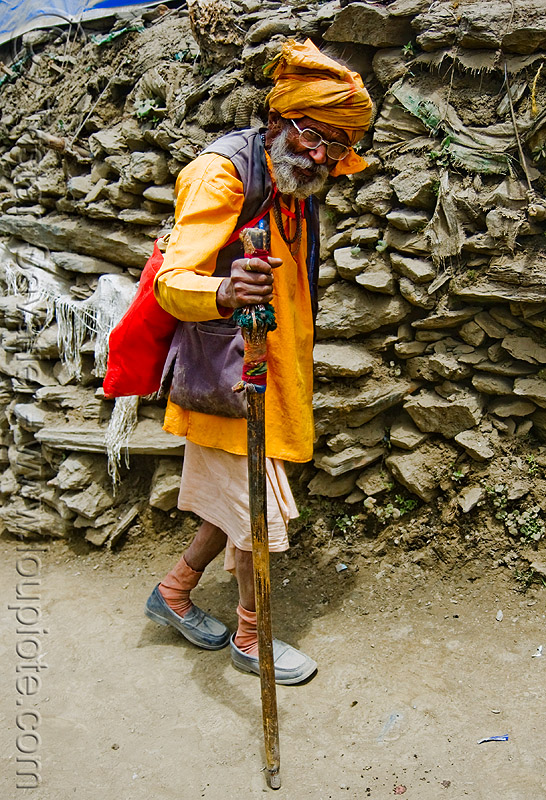 sadhu (hindu holy man) on trail - amarnath yatra (pilgrimage) - amarnath yatra (pilgrimage) - kashmir, amarnath yatra, baba, hiking cane, hindu holy man, hindu pilgrimage, hinduism, india, kashmir, mountain trail, mountains, pilgrim, sadhu, trekking, walking stick