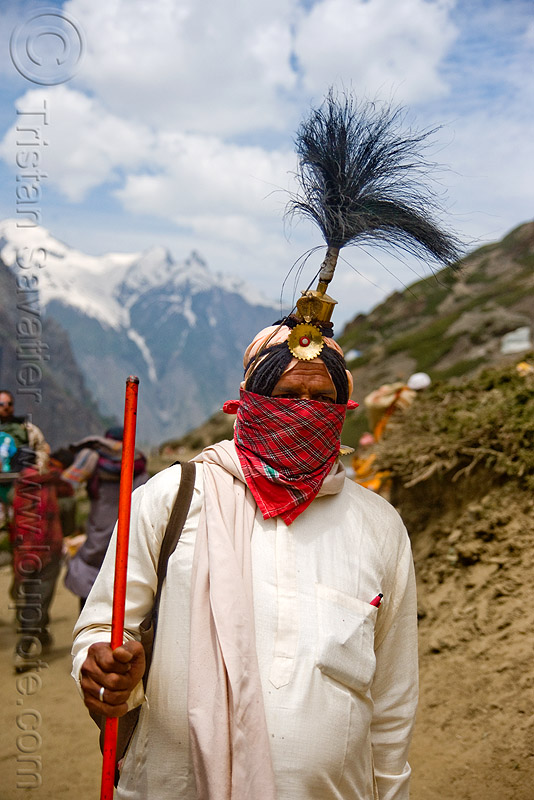 sadhu (hindu holy man) with ceremonial head dress - amarnath yatra (pilgrimage) - kashmir, amarnath yatra, baba, hindu holy man, hinduism, kashmir, mountain trail, mountains, pilgrim, pilgrimage, sadhu, trekking, yatris, अमरनाथ गुफा
