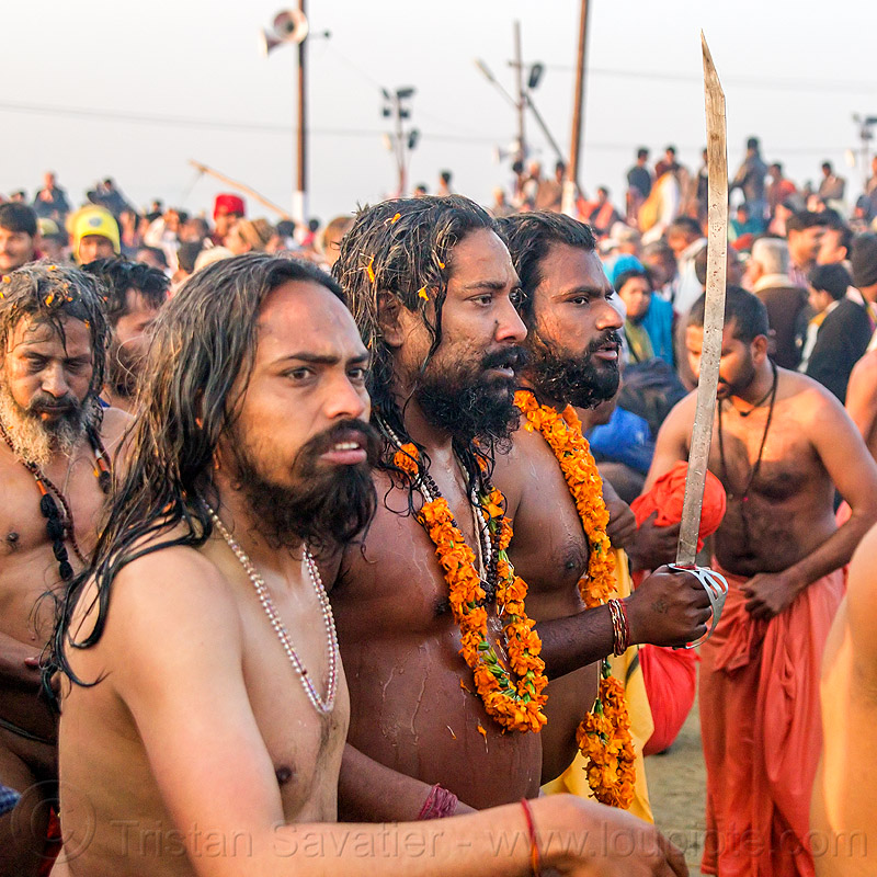 sadhus with sword after holy bath - kumbh mela (india), babas, beard, crowd, flower necklaces, hindu, hinduism, kumbh maha snan, kumbha mela, maha kumbh mela, mauni amavasya, men, procession, sadhus, sword, triveni sangam, walking