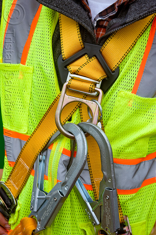 safety harness - reflective vest, building construction, construction worker, high-visibility jacket, high-visibility vest, man, reflective jacket, reflective vest, safety harness, safety hooks