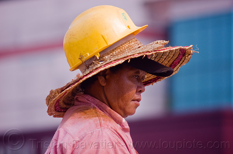 safety helmet over straw hats, borneo, building construction, cap, construction site, construction workers, malaysia, man, miri, safety helmet, straw hats, sun hat