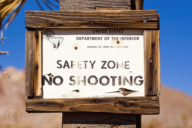 safety zone - no shooting - gun law, death valley, firearms, gun law, guns, no shooting, rhyolite ghost town, safety zone, sign