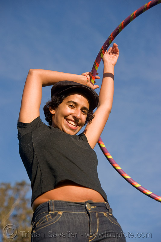 sahar with hula-hoop - golden gate park (san francisco), hula hoop, hula hooper, hula hooping, woman