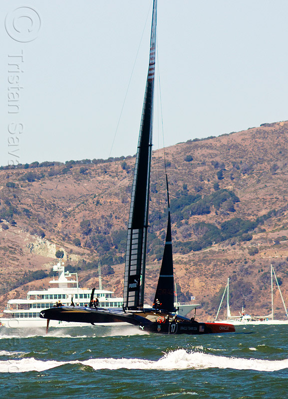 sailing hydrofoil catamaran oracle team USA - america's cup 2013 race (san francisco), ac72, america's cup, bay, boat, catamaran, fast, foiling, hydrofoil catamarans, hydrofoiling, ocean, oracle team usa, race, racing, sailboat, sailing hydrofoils, sea, ship, speed, water