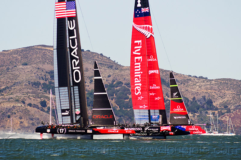 sailing hydrofoil catamarans - america's cup 2013 race (san francisco), ac72, advertising, america's cup, bay, boats, emirates team new zealand, fast, foiling, hydrofoil catamarans, hydrofoiling, ocean, oracle team usa, race, racing, sailboat, sailing hydrofoils, sea, ships, speed, sponsors, two, water