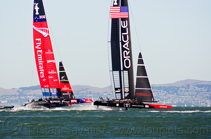 sailing hydrofoil catamarans - america's cup 2013 race (san francisco), ac72, advertising, america's cup, bay, boats, emirates team new zealand, fast, foiling, hydrofoiling, hydrofoils, ocean, oracle team usa, racing, sailboat, sailing hydrofoils, sea, ships, speed, sponsors, two, water