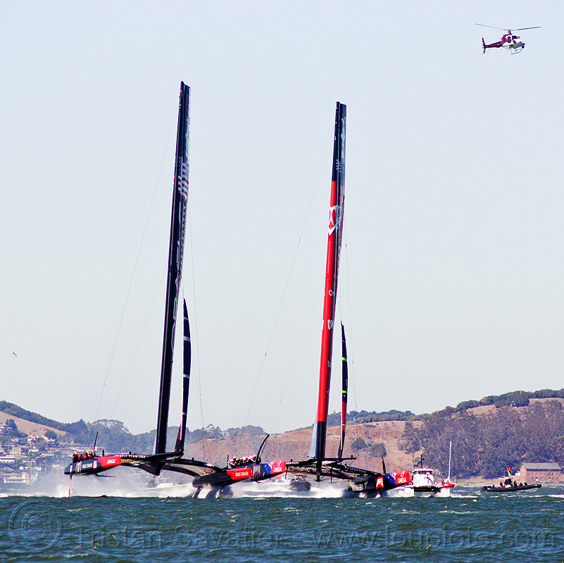 sailing hydrofoil catamarans - neck and neck - america's cup 2013 race (san francisco), ac72, america's cup, bay, boats, emirates team new zealand, fast, foiling, helicopter, hydrofoiling, hydrofoils, ocean, oracle team usa, racing, sailboat, sailing hydrofoils, sea, ships, speed, two, water