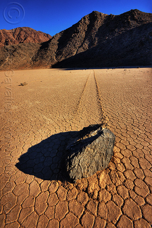 sailing stone - death valley racetrack, cracked mud, death valley, desert, dry lake, dry mud, mountains, racetrack playa, sailing stone, sliding rock, track